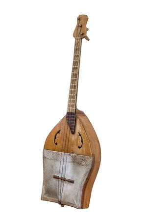 stringed: Sherter Kazakh and ancient Turkic stringed musical instrument isolated on white background