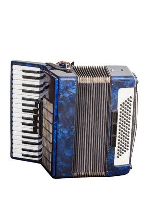 classic musical instrument an accordion, isolated on white background