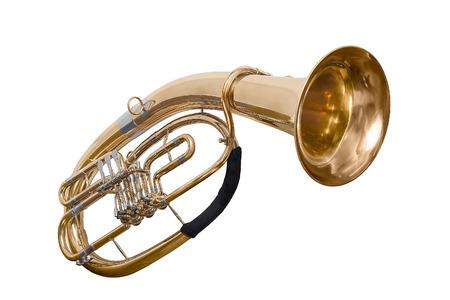 classical wind musical instrument baritone Euphonium isolated on white background