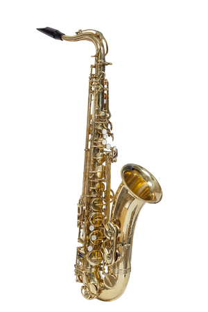 classic brass musical instrument tenor saxophone isolated on white background Stock Photo