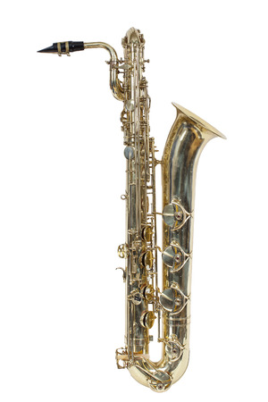 classic musical instrument, the baritone saxophone isolated on white background Imagens