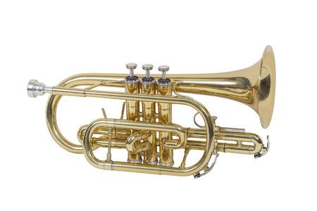 viento clásico instrumento musical del cucurucho aislados en fondo blanco