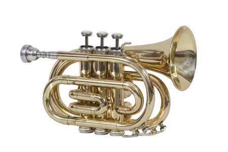 cornet: classical wind musical instrument cornet isolated on white background