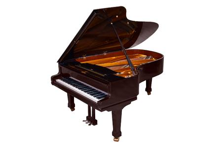 black Grand piano isolated on white background Stock Photo