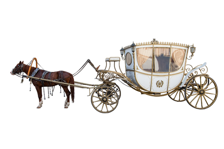 carriage drawn by a chestnut horse isolated on white background 스톡 콘텐츠