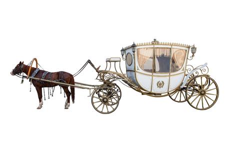 carrello disegnato da un sauro isolato su sfondo bianco Archivio Fotografico
