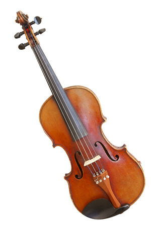 old violin isolated on white background 写真素材