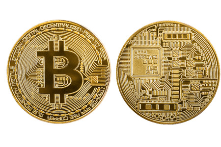 Golden bitcoins coin front and back side isolated on white background