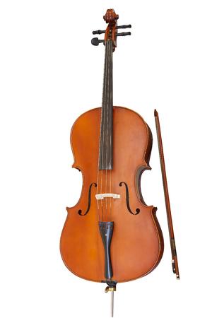 Instrument de musique à cordes classique, violoncelle isolé sur fond blanc Banque d'images