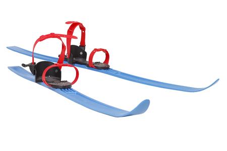 blue skis isolated on white background Stock Photo