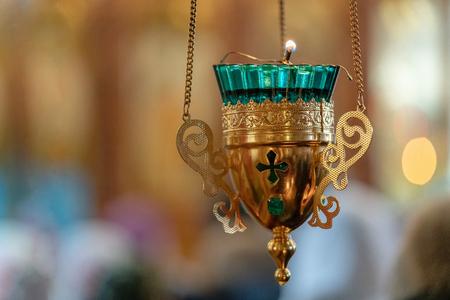lit Church lamp in the Orthodox Church