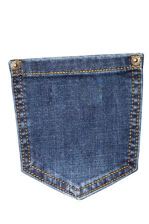 denim pants pocket isolated on white background, blue jeans
