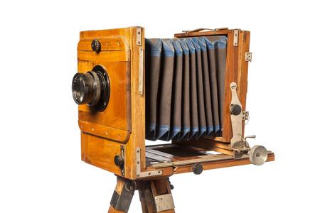 vintage camera on tripod isolated on white background close-up