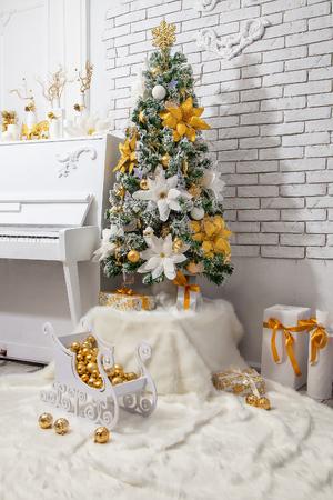 Christmas tree with white piano