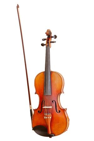 klassisches Musikinstrument, alte Geige auf weißem Hintergrund
