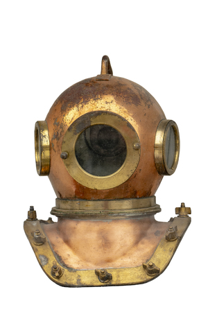 vintage diving helmet isolated on white background