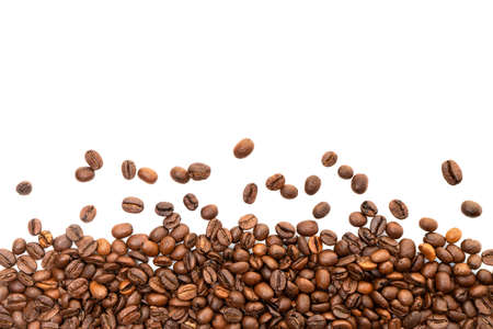 Coffee beans isolated on white background with copyspace for text. Coffee background or texture concept. Imagens
