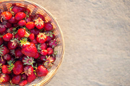 Ripe red strawberries in a wicker basket on a gray background, top view. Summer still life. Space for text