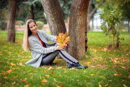 A beautiful girl in a gray cardigan sits on the grass in the park and holds a bouquet of autumn yellow maple leaves in her hands