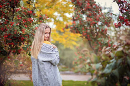 Blonde girl in a gray cardigan and a yellow dress among the autumn trees with red berries. Autumn theme