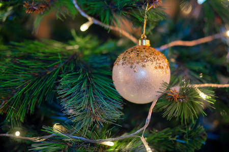 golden ball hanging on a branch of a christmas tree. Christmas tree decoration. Preparing for the holiday, garland.