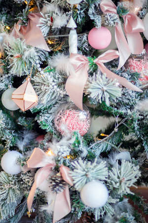 Christmas tree decoration close-up. Christmas tree decor elements. Background for postcards