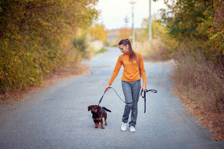 Young woman in an orange turtleneck and jeans walks with a dog on a leash in an autumn park