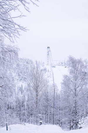 Springboard for ski jumping. Winter sports resort in Lapland, Ruka.
