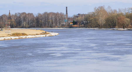 Early spring, the river was released from the ice
