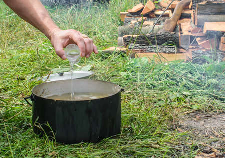 Cooking fish soup in the pot 免版税图像
