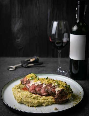 Grilled meat with pure on black background Zdjęcie Seryjne