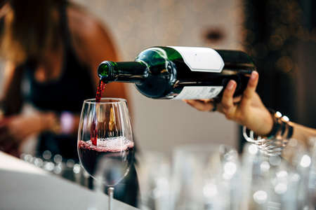 Bartender pouring red wine. 스톡 콘텐츠