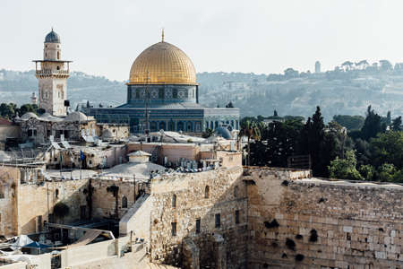 Jerusalem western wall view, Al-Aqsa Mosque and Jerusalem Archaeological Park Israel, Middle East Stock Photo