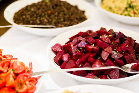Variety of gourmet vegan food prepared and served.  Only healthy Ingredients. Stock Photo