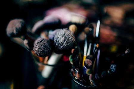 Make up brushes in work for wedding day and happy events.