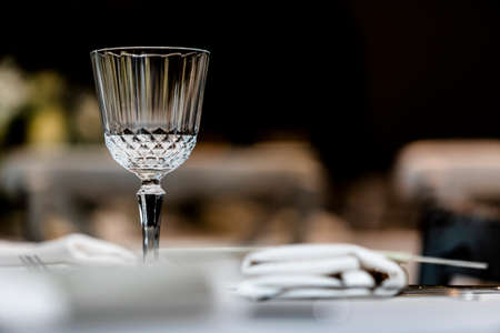 Beutiful setup of wine glasess for dinner, party, weddings or chrismas Фото со стока