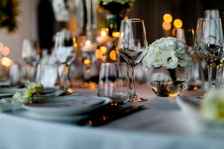 Beutiful setup of wine glasess for dinner, party, weddings or chrismas Stock Photo