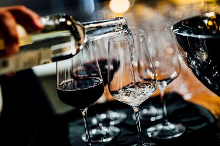 Man is pouring red or white wine in social event like weddings business gathering or romantic dinner.