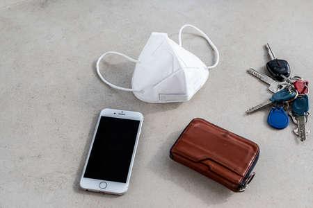 New age everyday carry mask keys and wallets. Covid - 19, corona, mask, n-95, new era, virus, global epidemic, outbreak, face mask