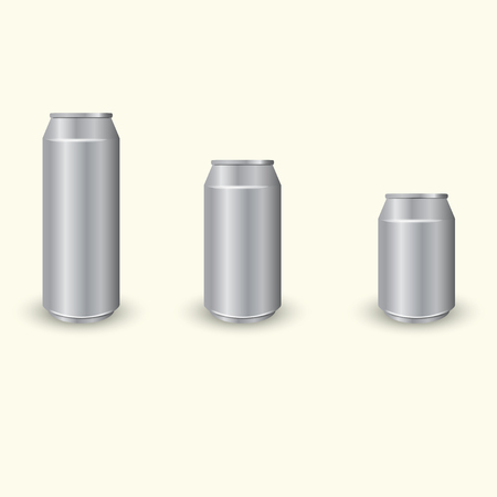 aluminum cans: Set of three different aluminum cans, vector Illustration