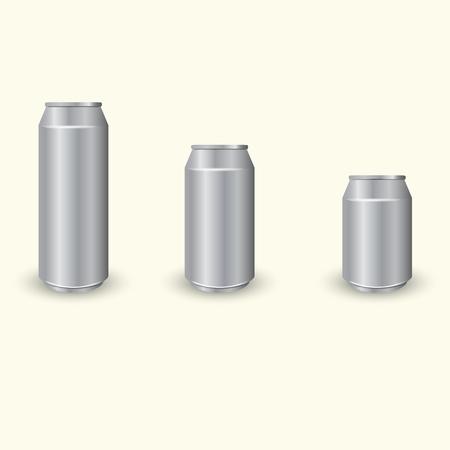 Set of three different aluminum cans, vector Ilustração