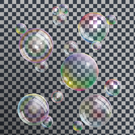 Set of different realistic soap bubbles with rainbow reflection on transparent background, vector Illustration