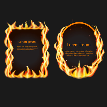 abstract fire: Frames of fire, abstract set, vector