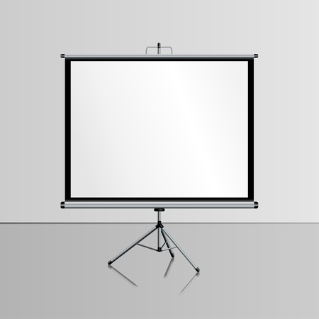 tripod projector: Realistic blank projector screen for  presentation, whiteboard,  with tripod, vector