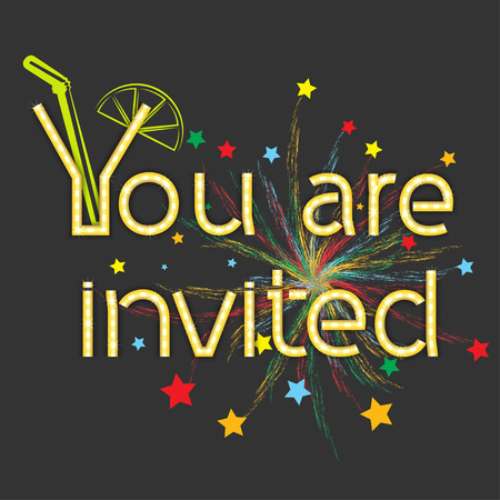invited: Inscription you are invited with abstract fireworks, vector