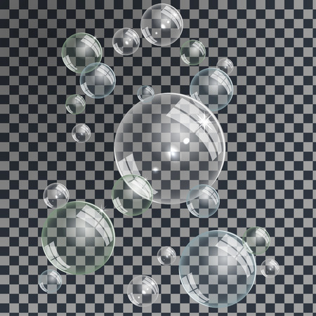 Gentle underwater or soap bubbles blue, green and gray shades on transparent background, vector