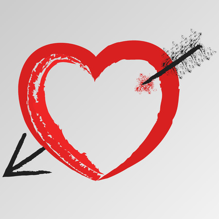 fondness: Hand-drawn a heart pierced by an arrow, sign or symbol of a Valentines day and love, vector