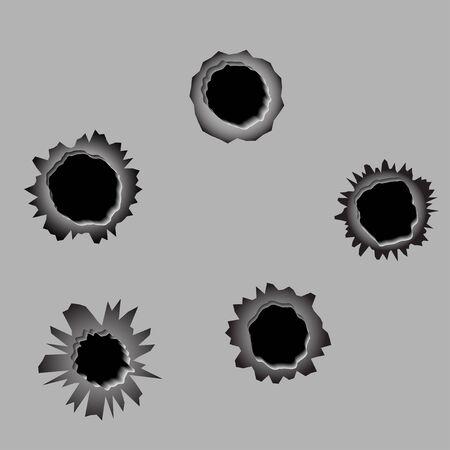 gunshot: A set of 5 bullet holes, vector Illustration