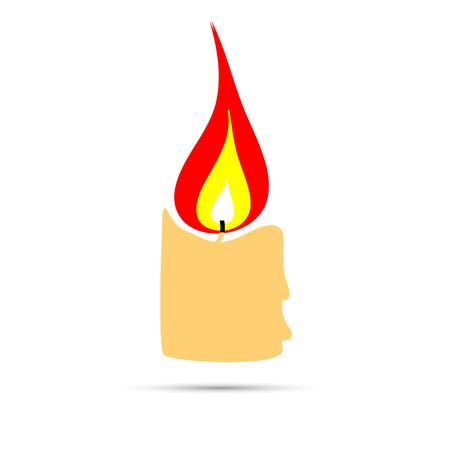 burning candle: Burning candle icon logo design flat style, vector Illustration