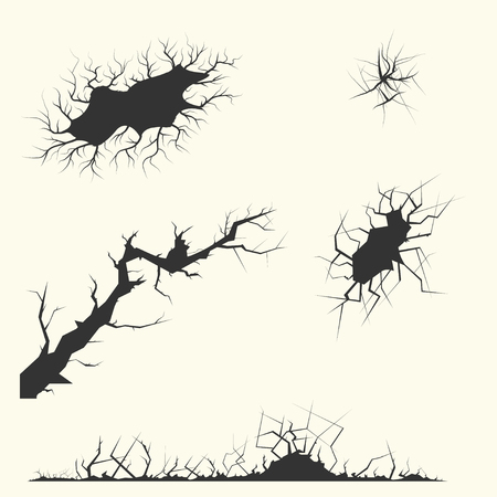 cracks: Set of cracks faults different forms vector